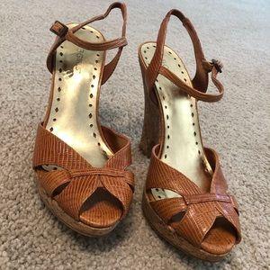 BCBGirls Leather Peeptoe Wedge Slingback Sandals